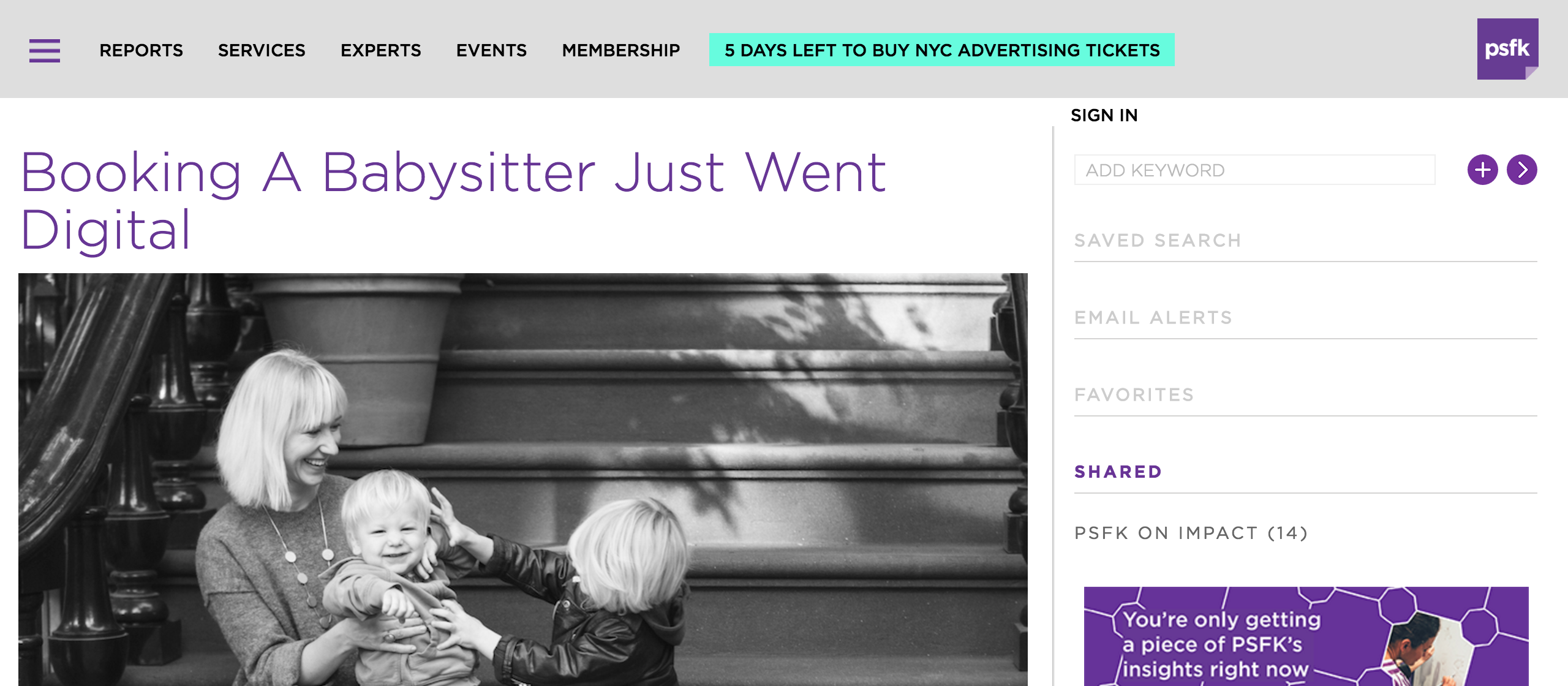 psfk article about Hello Sitter the app for new york parents in need of babysitters